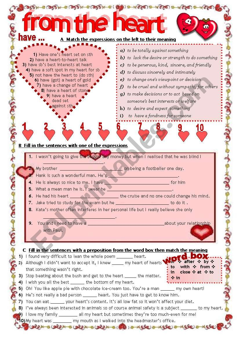 FROM THE HEART:  Idioms and expressions with Heart- completely editable KEY included