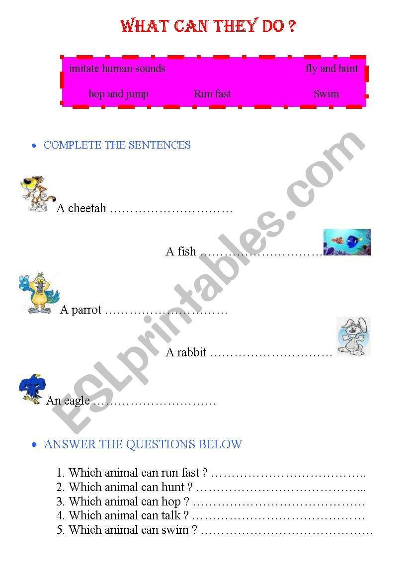 what can they do ? worksheet