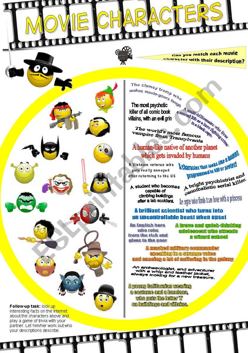 Movie Characters Matching worksheet