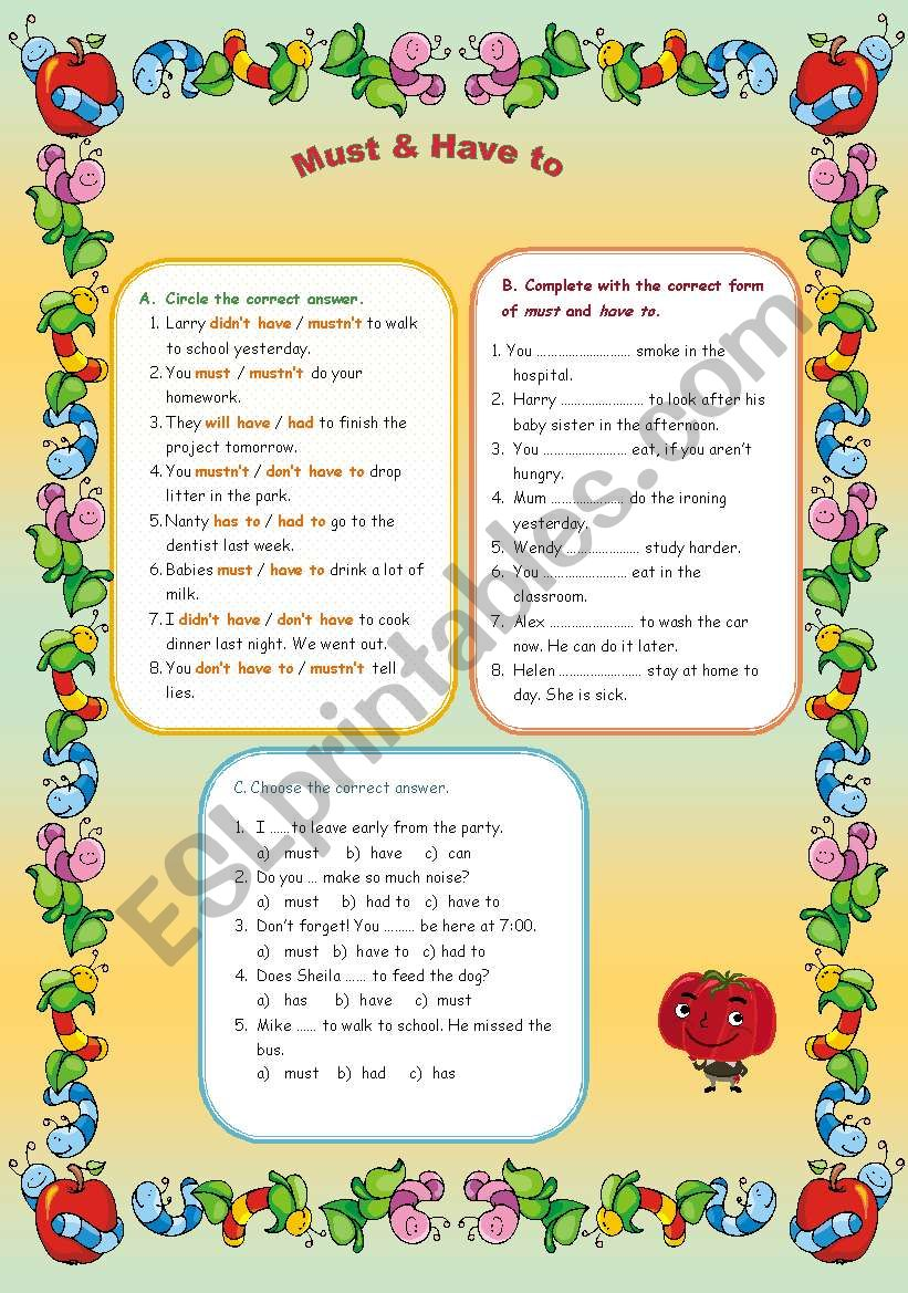 Must & Have to worksheet