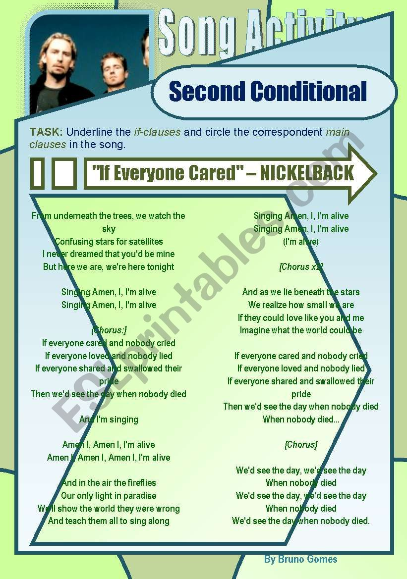 Second Conditional - Song Activity - If Everyone Cared (Nickelback)