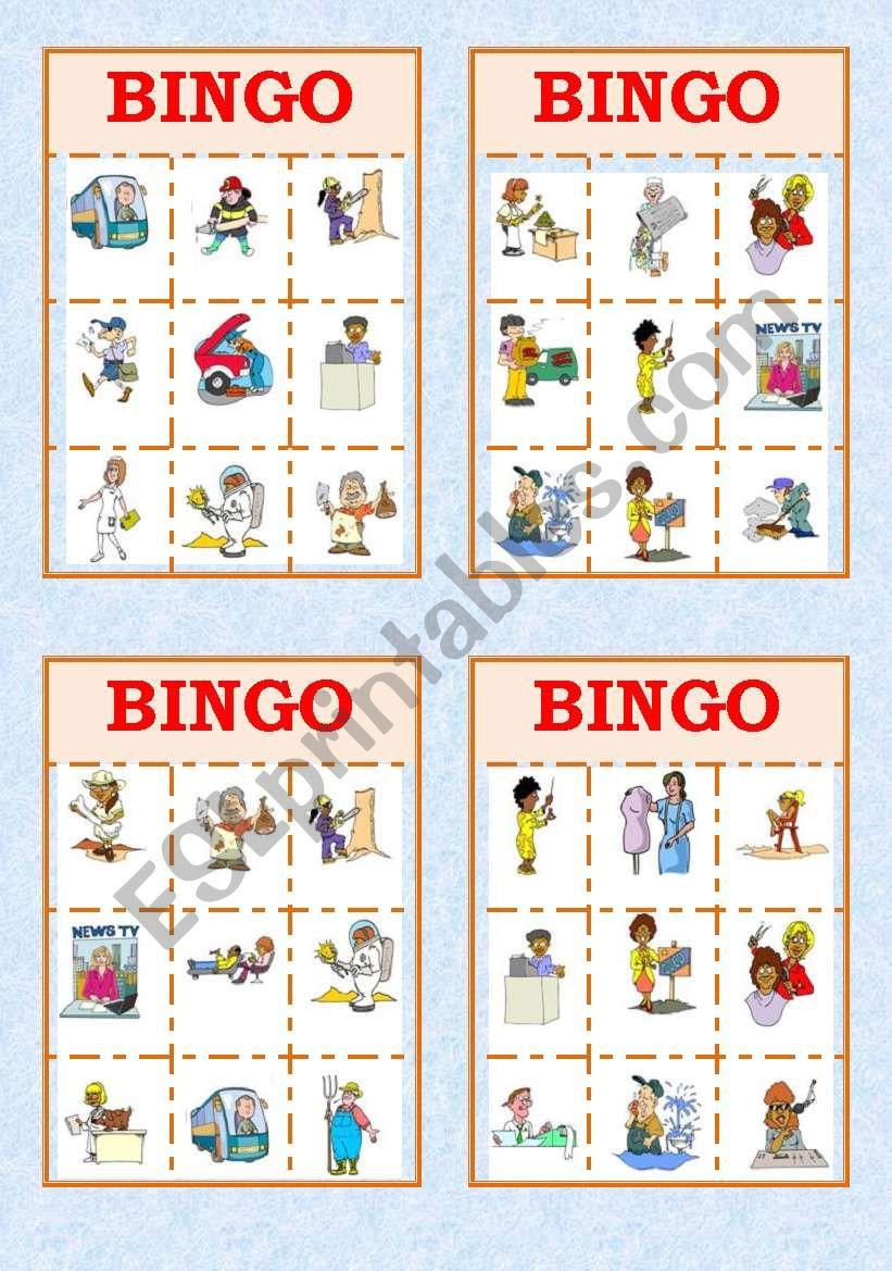 Job Bingo!! worksheet