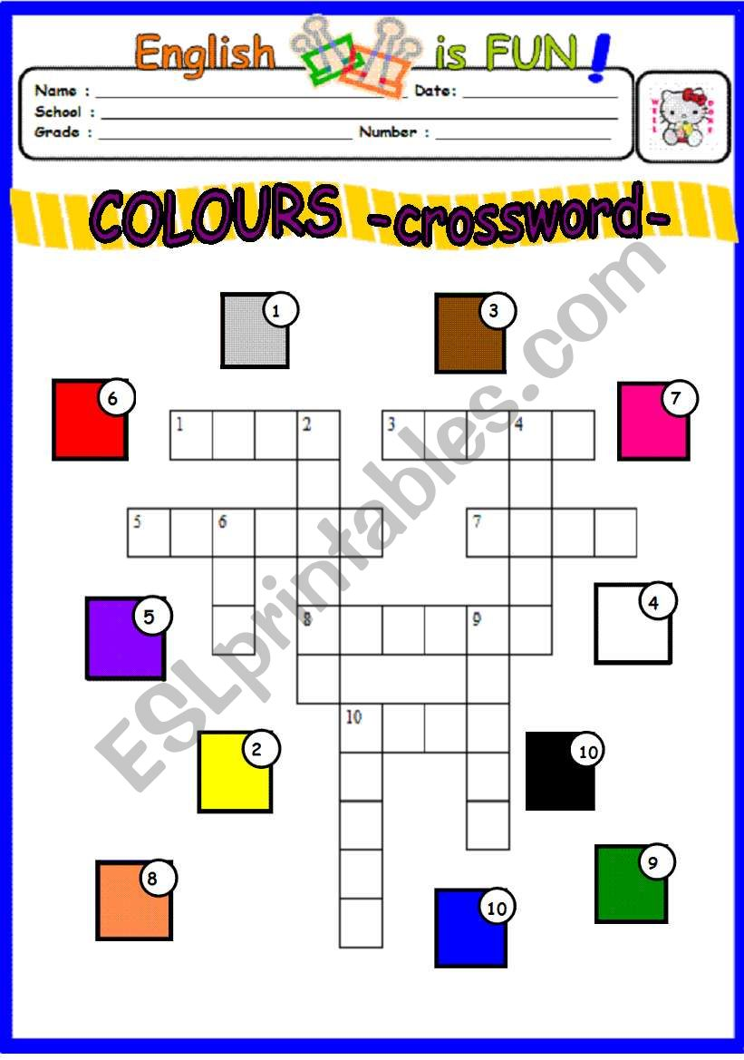 Colours -crossword puzzle worksheet