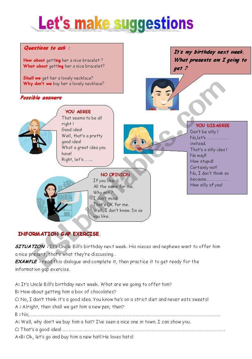 make suggestions worksheet