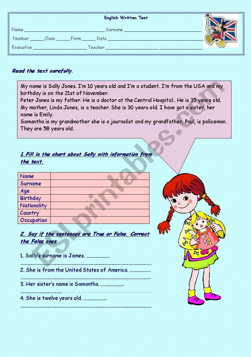 5th grade test - ESL worksheet by Sónia Maria