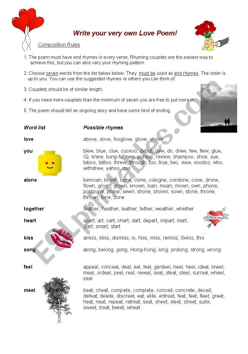 Guided Writing: Love poems worksheet
