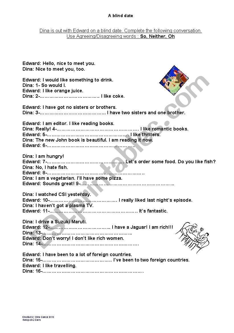 A blind date worksheet