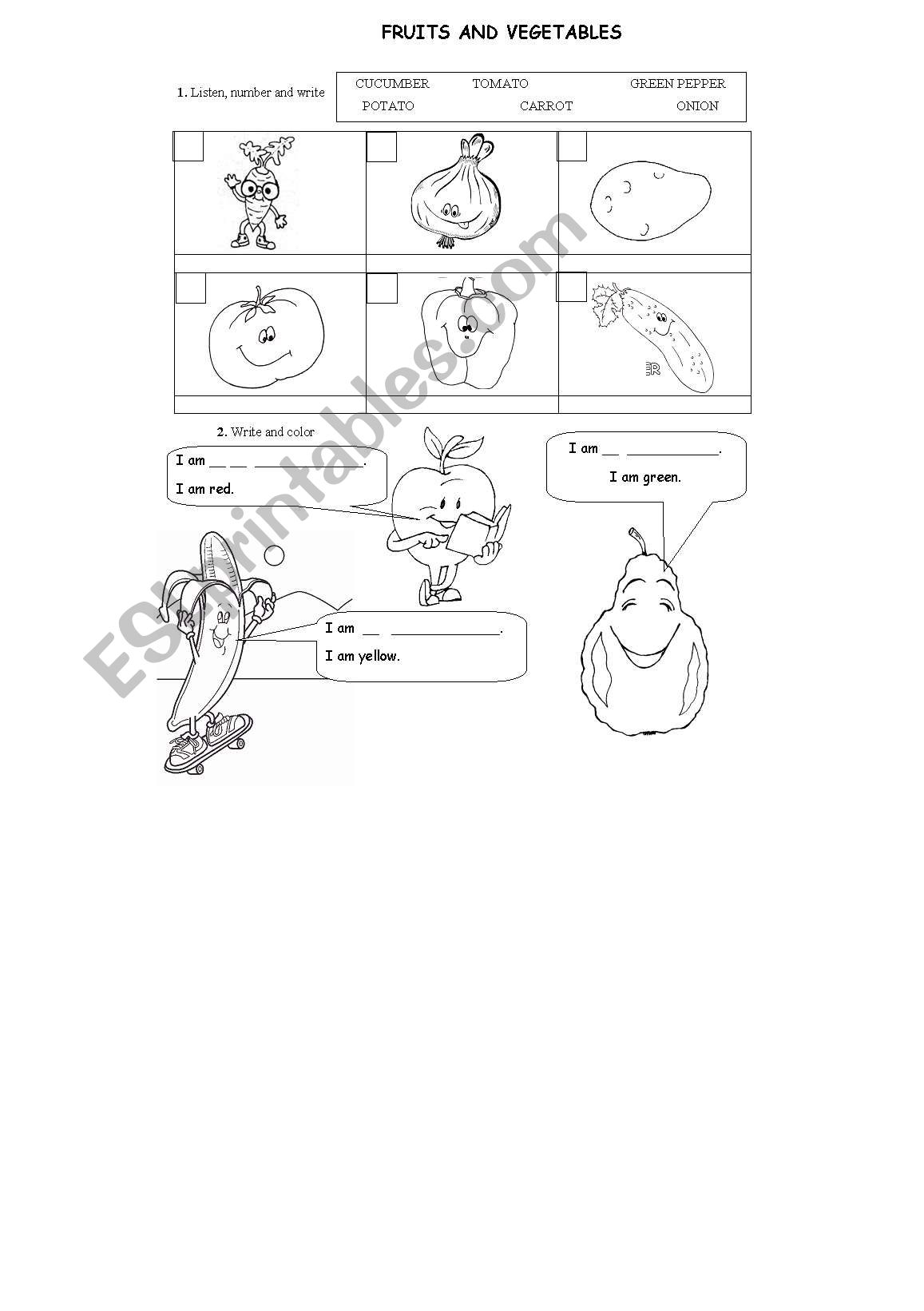 FRUITS AND VEGETABLES worksheet