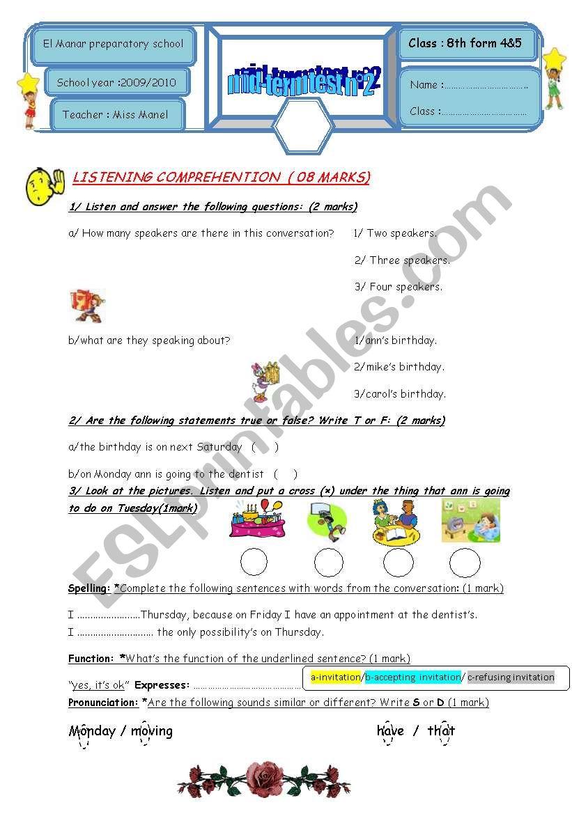 mid term test 8TH FORM worksheet