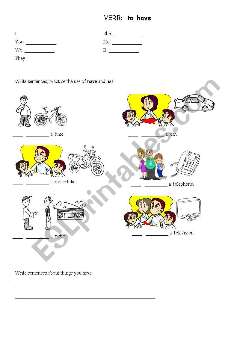 VERB:  to have worksheet
