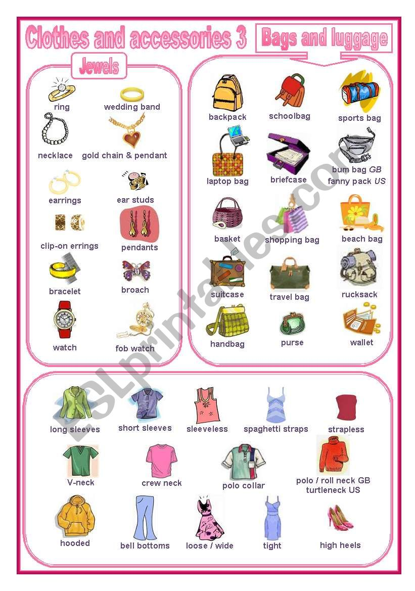 Clothes and accessories 3: a pictionary (editable)