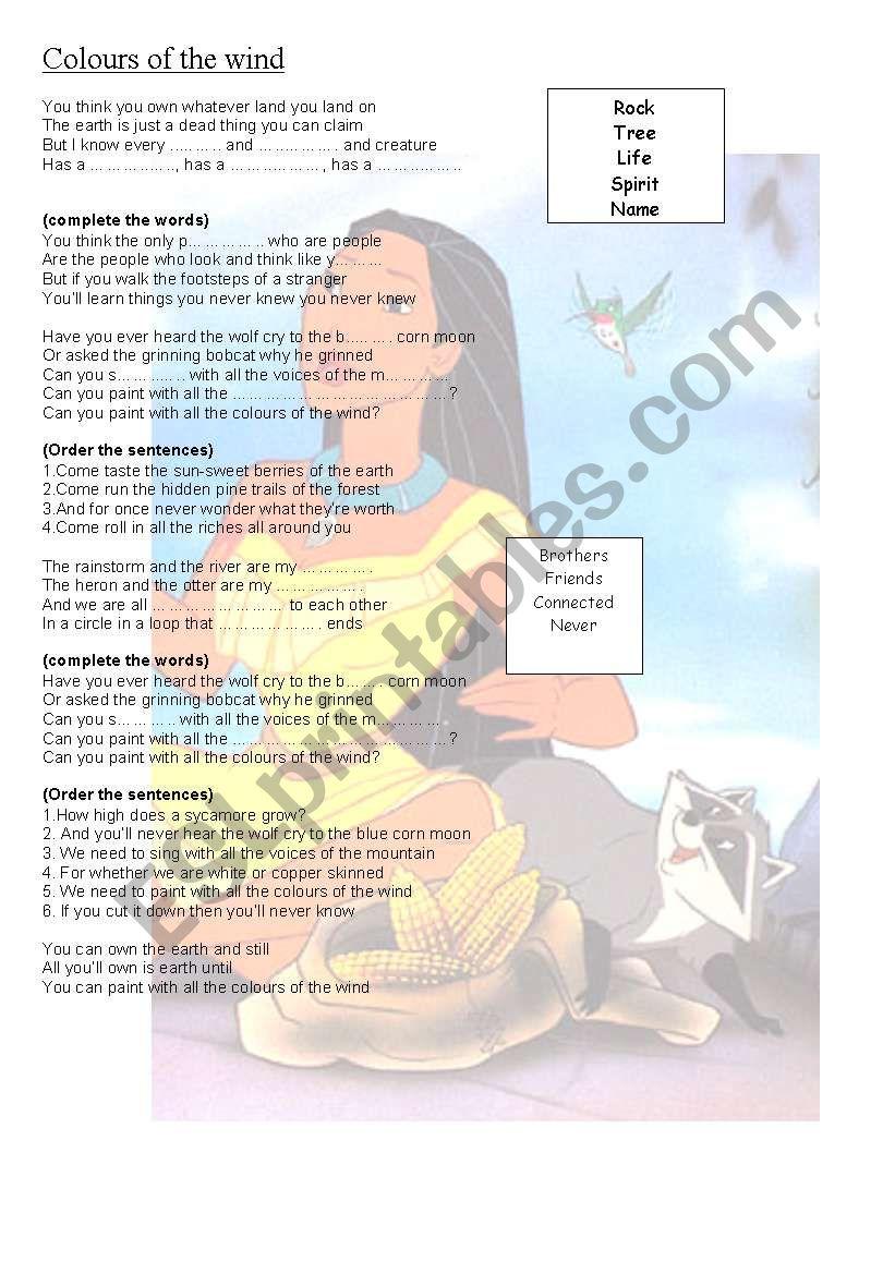 pocahontas song worksheet