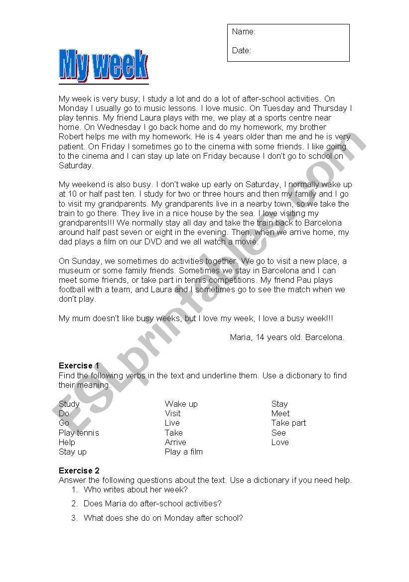 English worksheets: My week