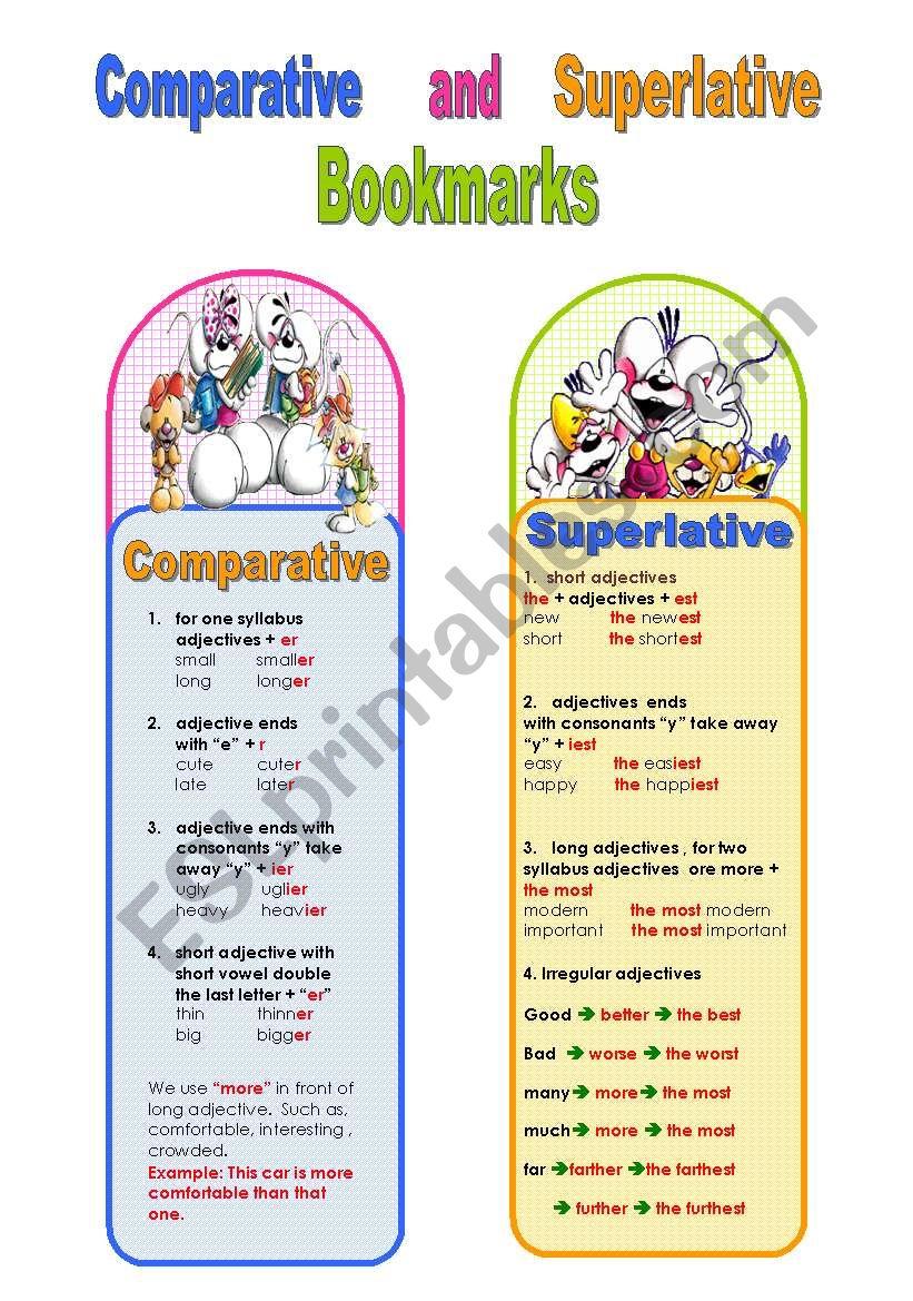 comparative and superlative bookmarks