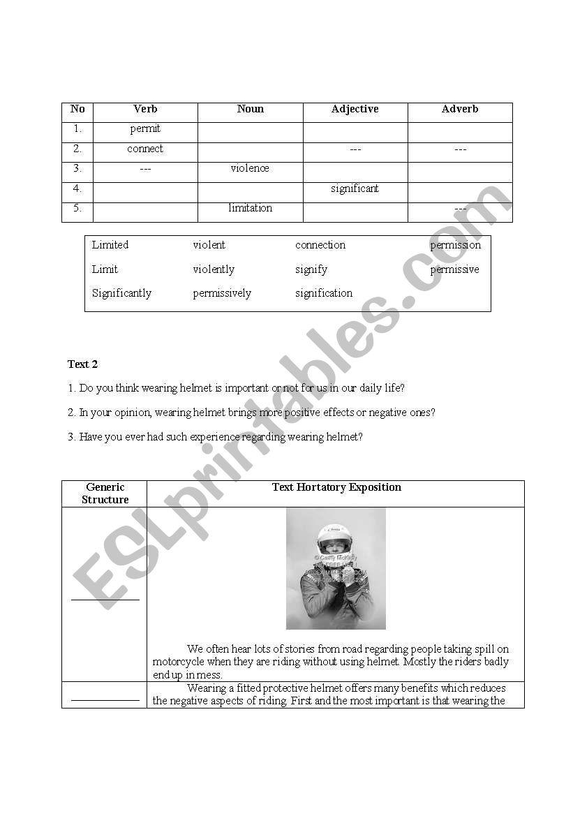 English Worksheets Hortatory Exposition Reading Txt And Vocabulary