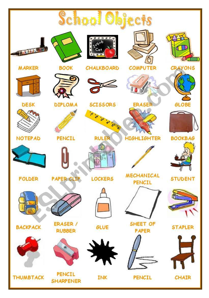 School Objects Pictionary worksheet