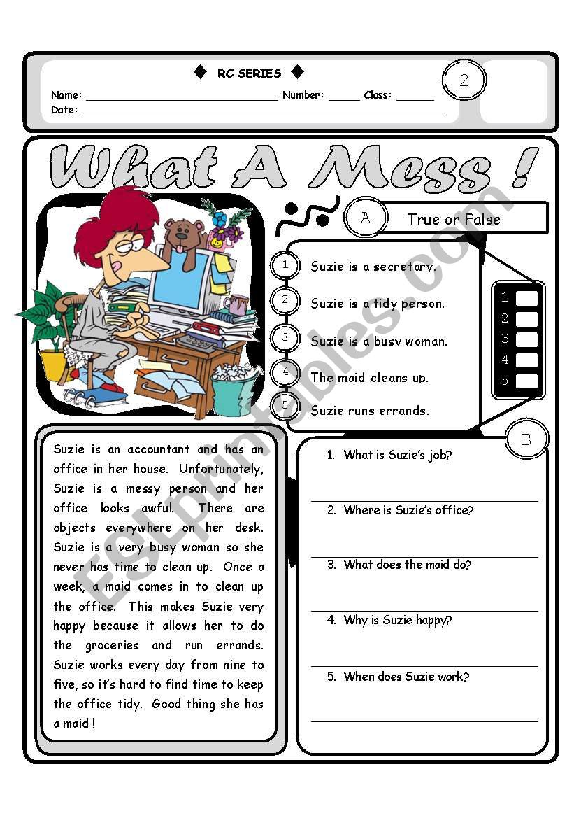 RC Series LEVEL 2_03 What A Mess (Fully Editable + Answer Key)
