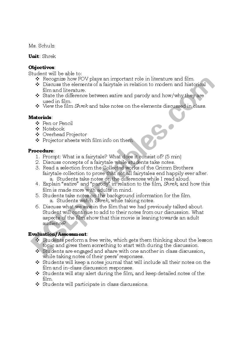 English Worksheets Shrek Fairytale Lesson Plan Day 1