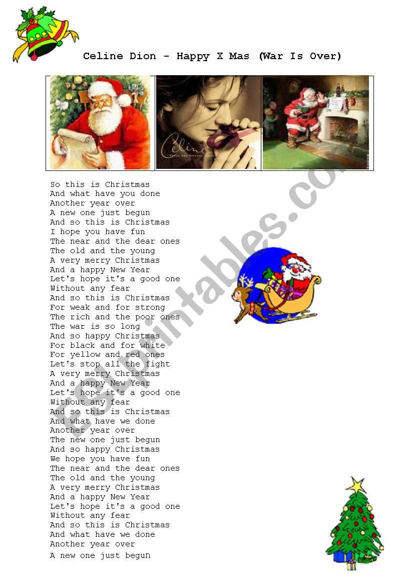 Celine Dion Happy Xmas War Is Over Esl Worksheet By Zhlebor