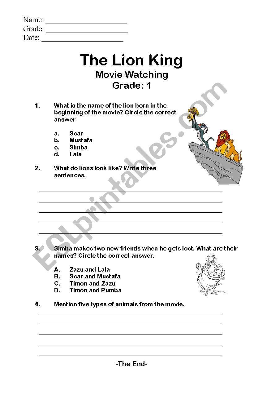 The Lion King Esl Worksheet By Fan2dalo