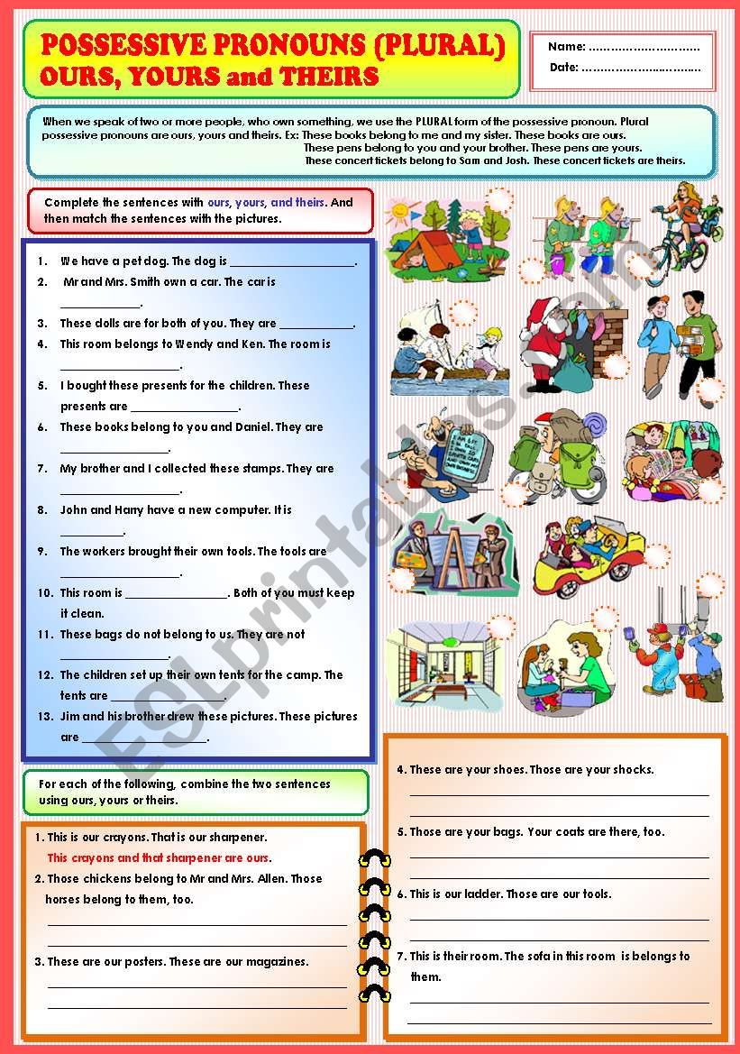 Possessive Pronouns (plural) - Ours, yours and Theirs