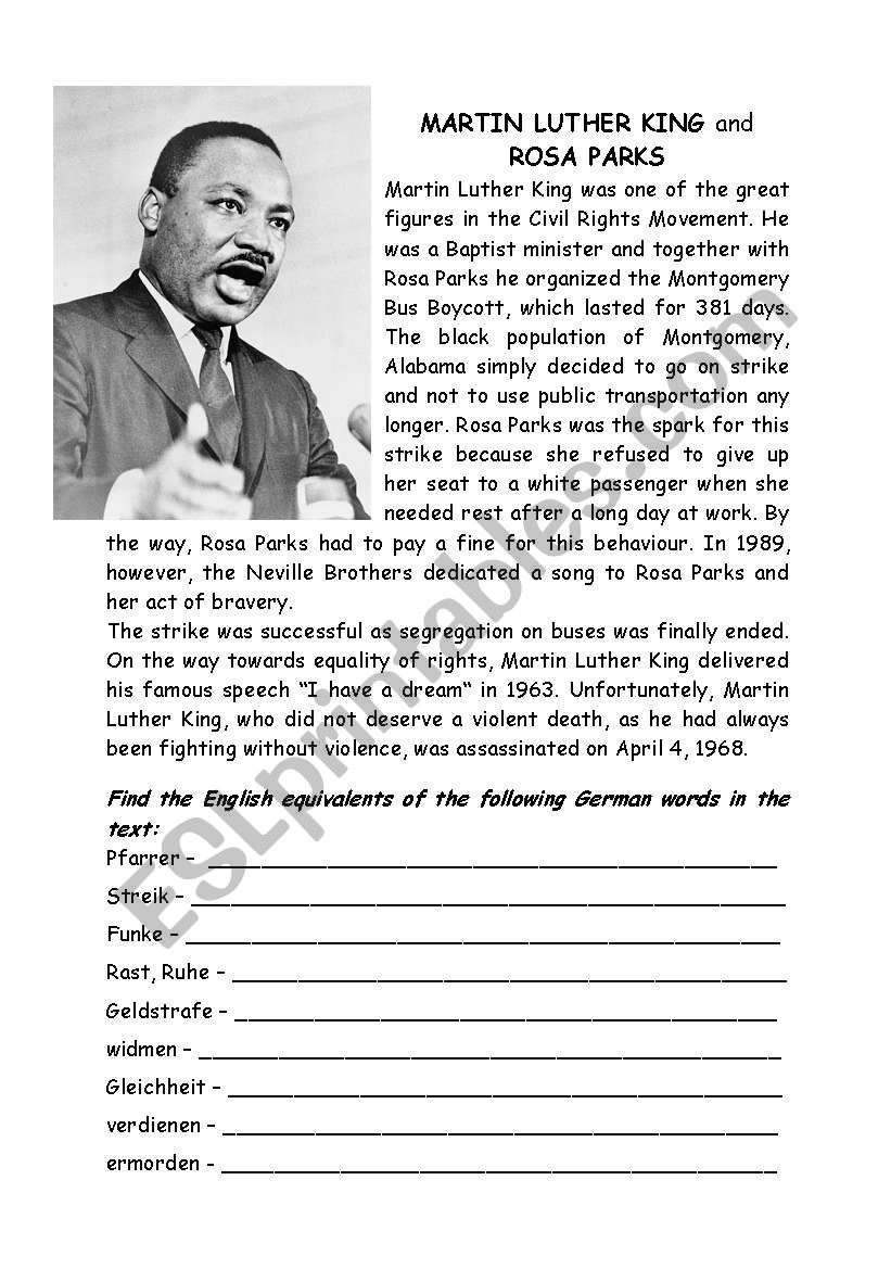 - Martin Luther King And Rosa Parks - ESL Worksheet By Dorolein