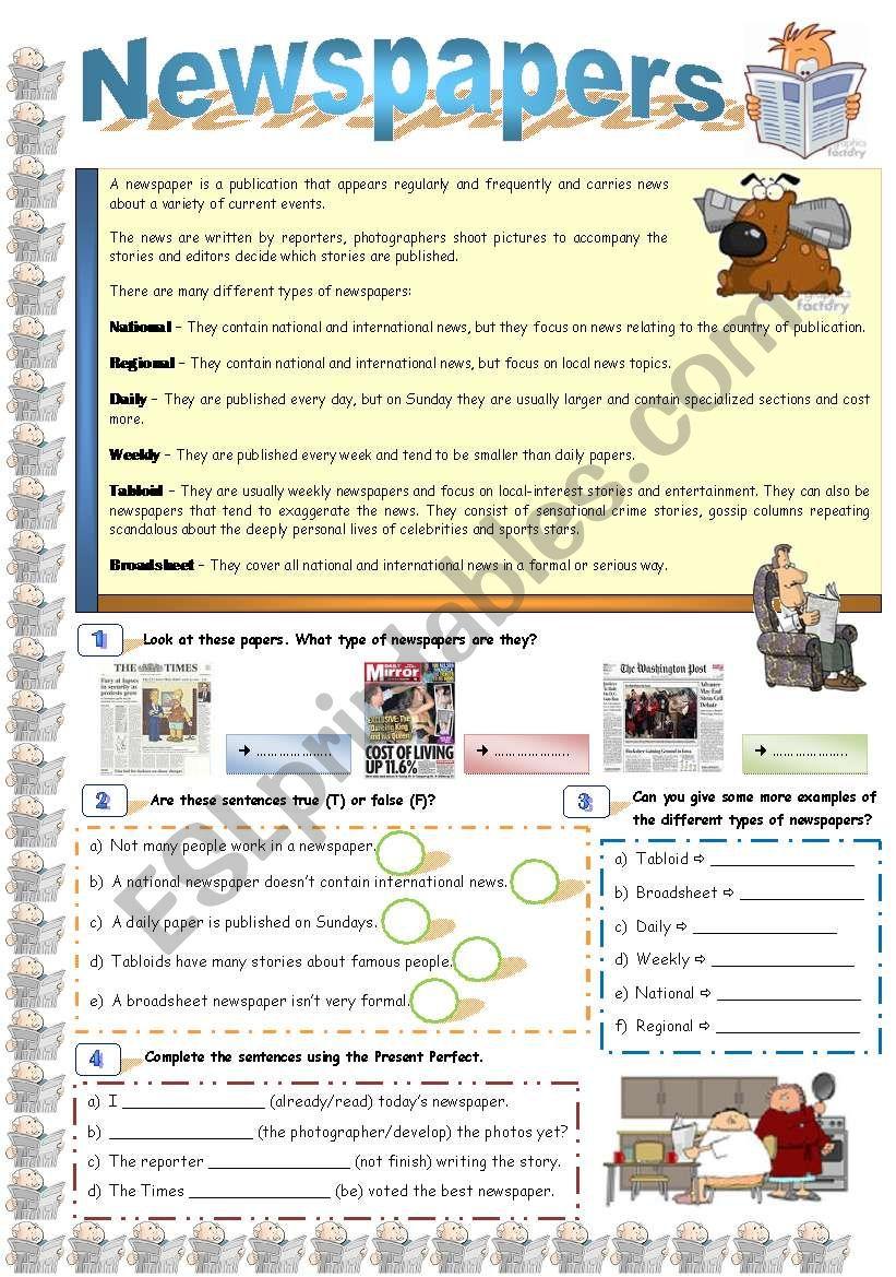 Newspapers worksheet