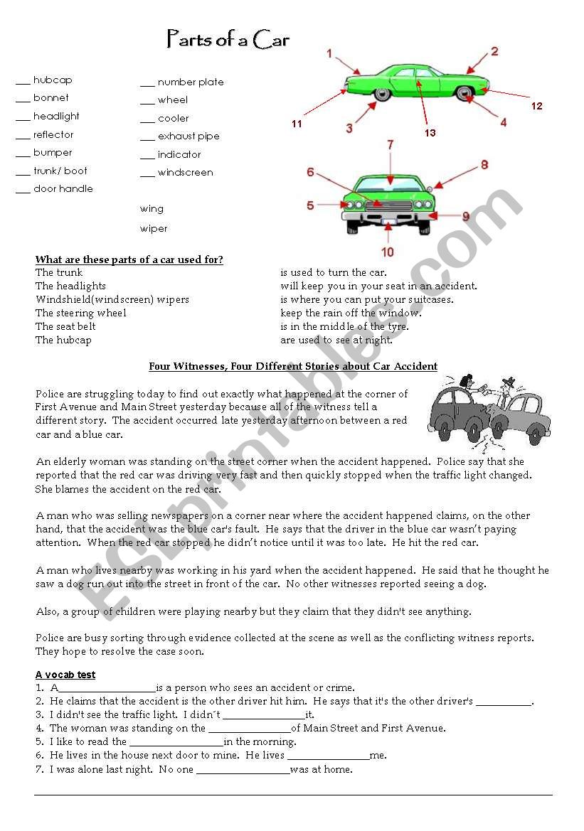 Parts of a car worksheet
