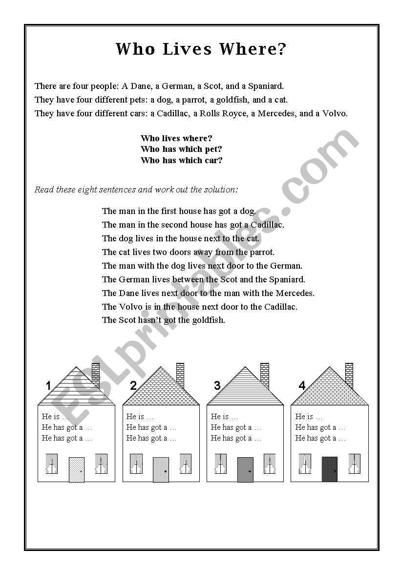 Who Lives Where? worksheet