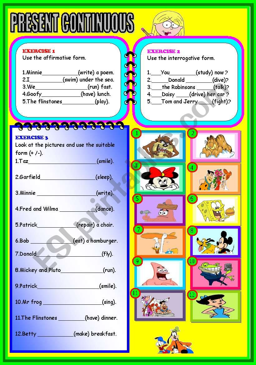 PRESENT CONTINUOUS. worksheet