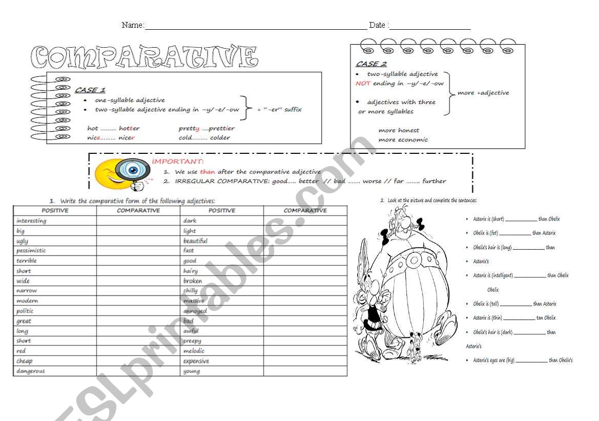 Comparative in adjectives worksheet