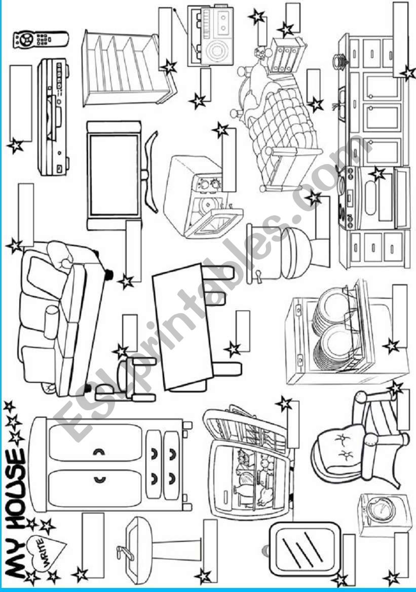 My House:furniture Worksheet