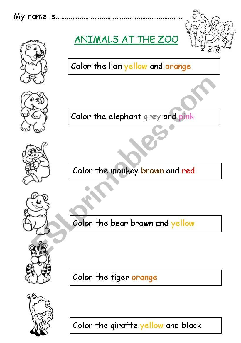 Animals at the zoo worksheet