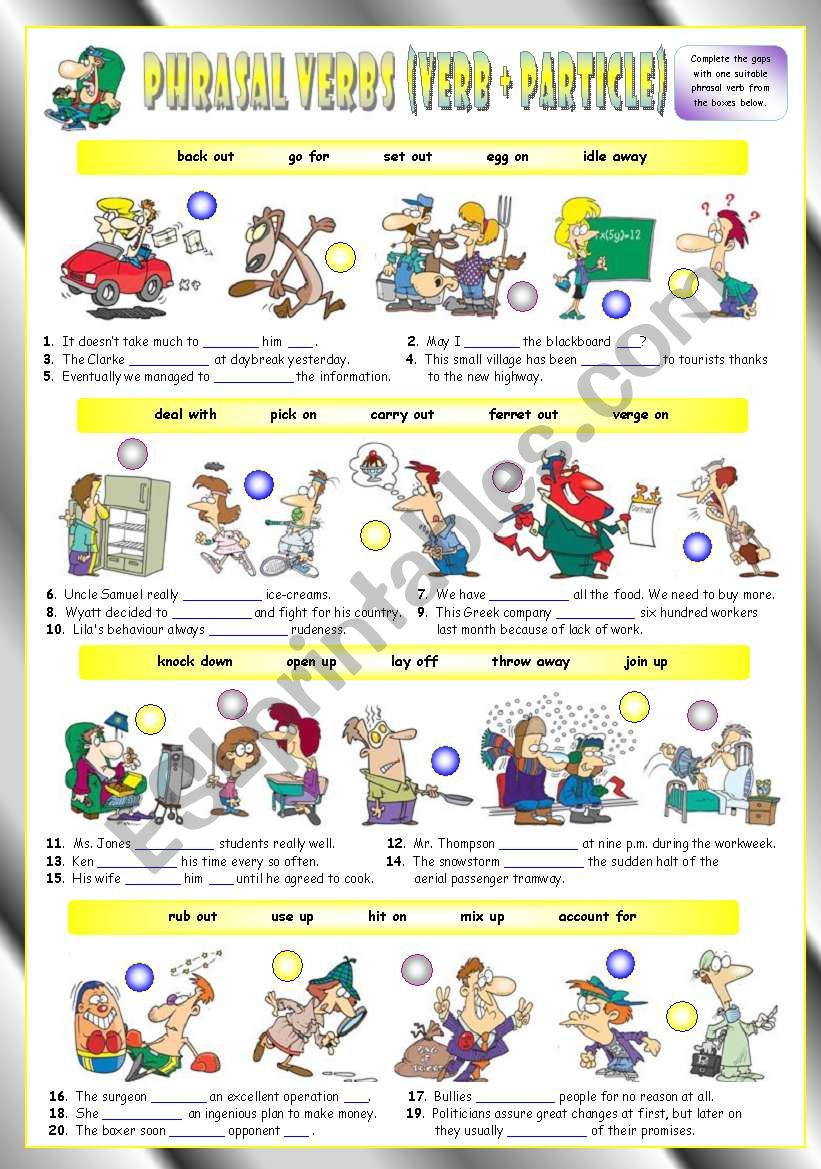 Phrasal Verbs (Eighth series). Exercises (Part 2/3). Key included!!!