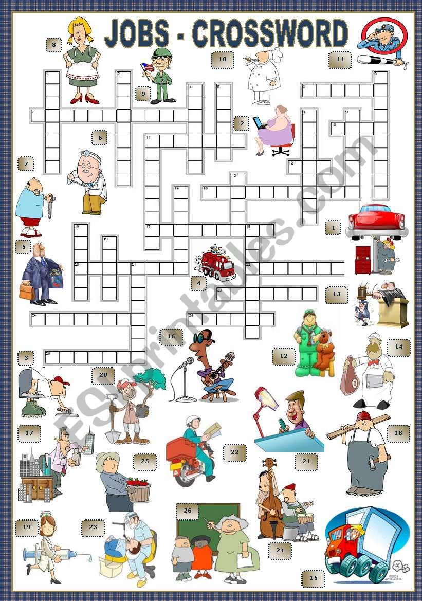 JOBS - CROSSWORD worksheet