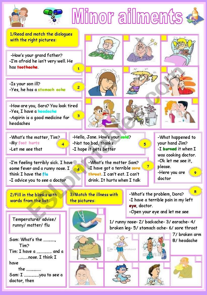 minor ailments worksheet