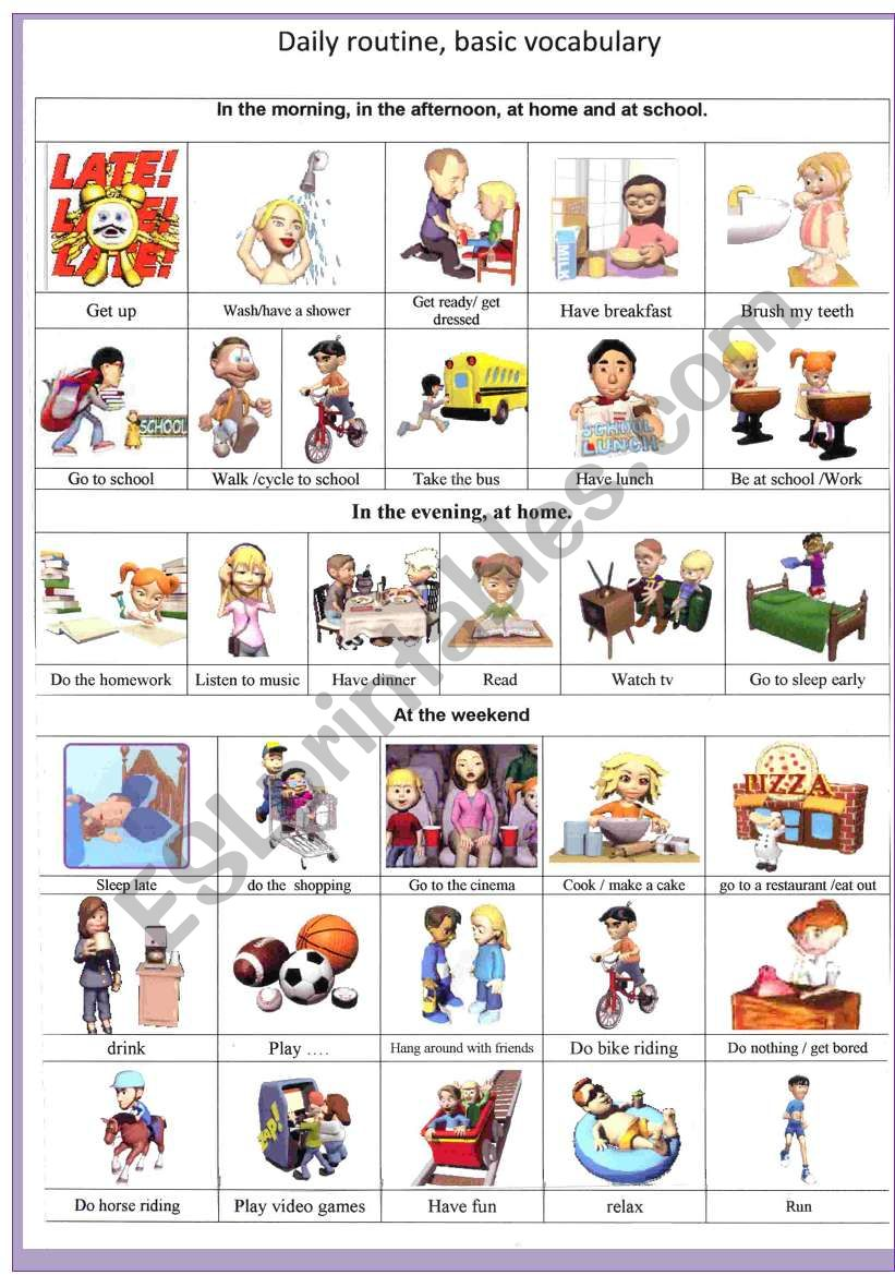 3D daily routine basic vocabulary - ESL worksheet by French bird