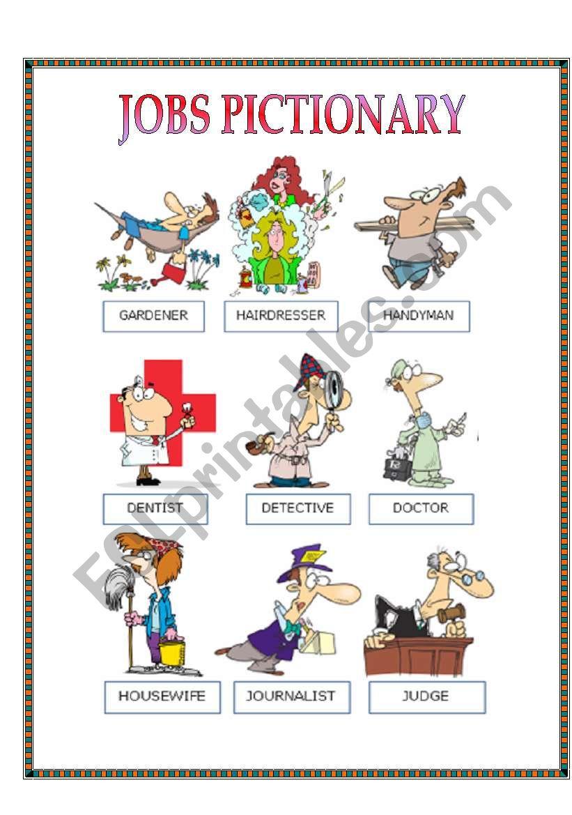 JOBS PICTIONARY - ESL worksheet by nayyara