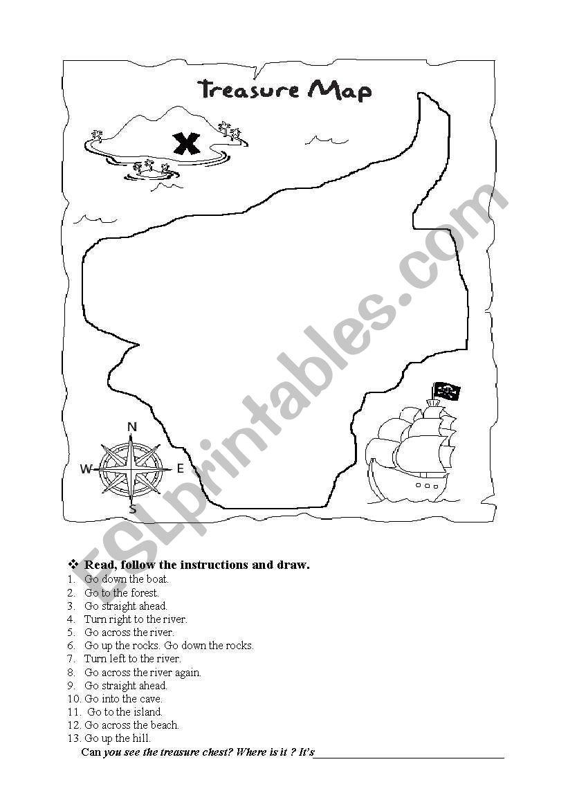 the treasure map esl worksheet by isatarraga. Black Bedroom Furniture Sets. Home Design Ideas