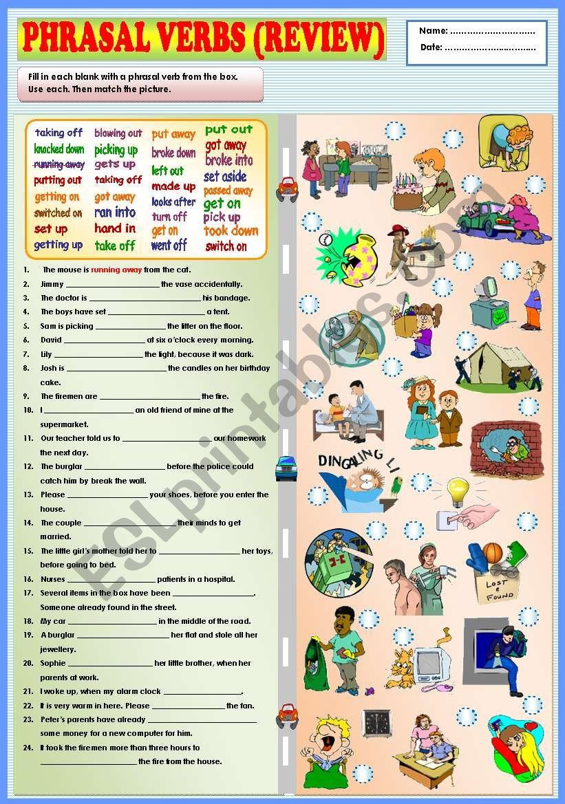 Phrasal verbs (review) + KEY worksheet