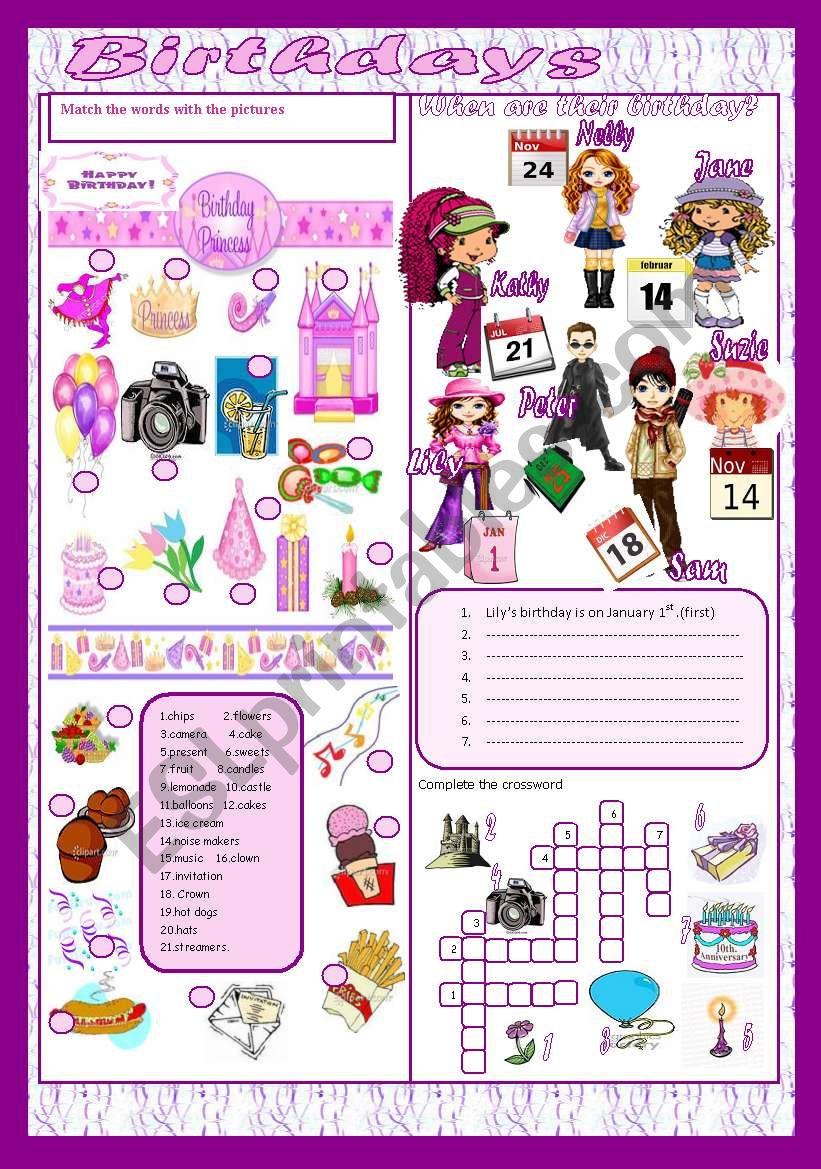 Birthdays worksheet