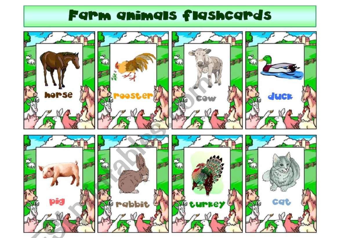 Farm animals flashcards worksheet
