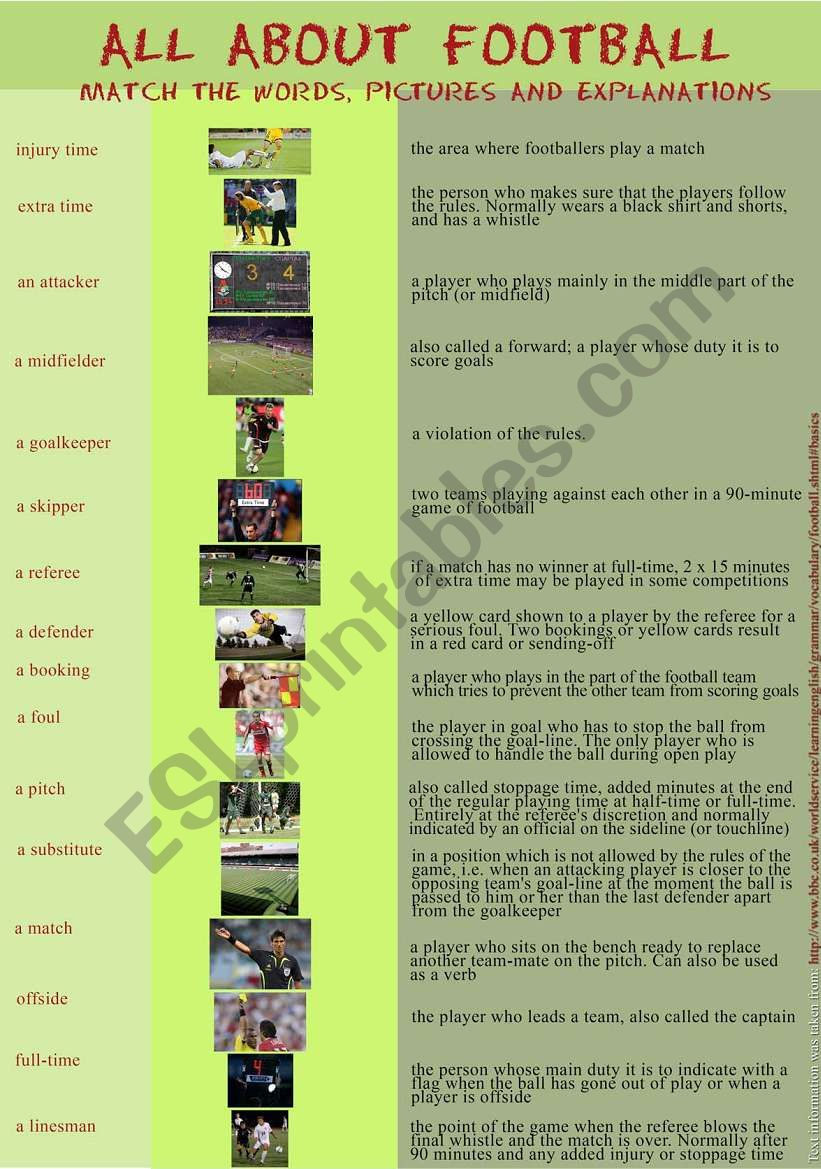 All about football worksheet