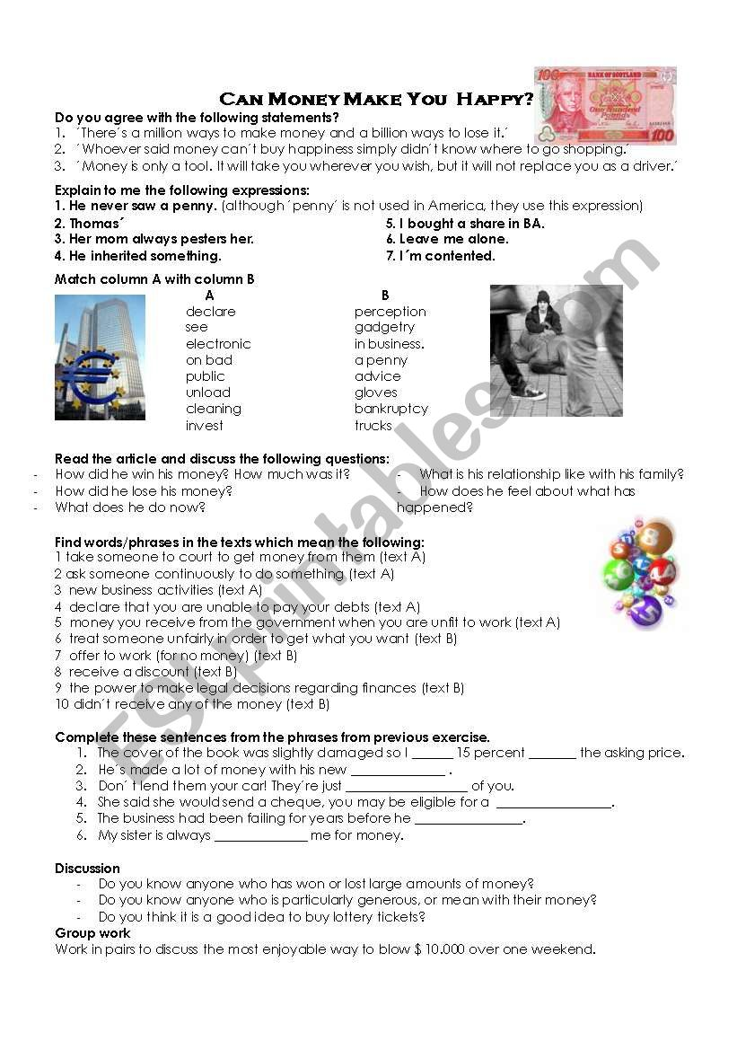Can money make you happy? worksheet