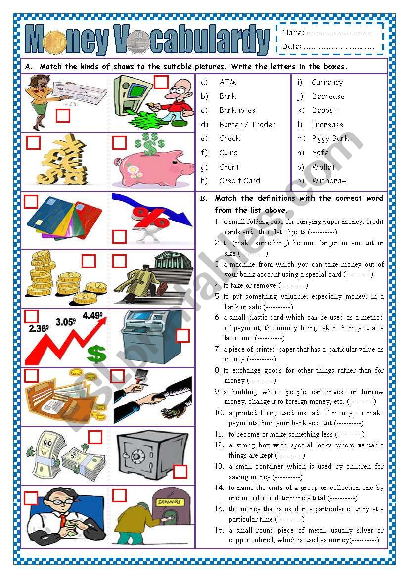 Money Vocabulary (part 1) worksheet