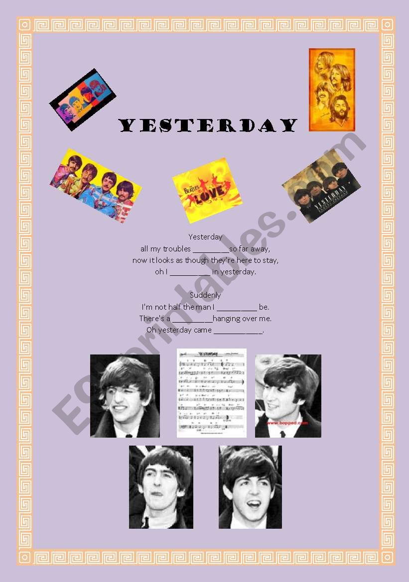 Yesterday -The Beatles worksheet