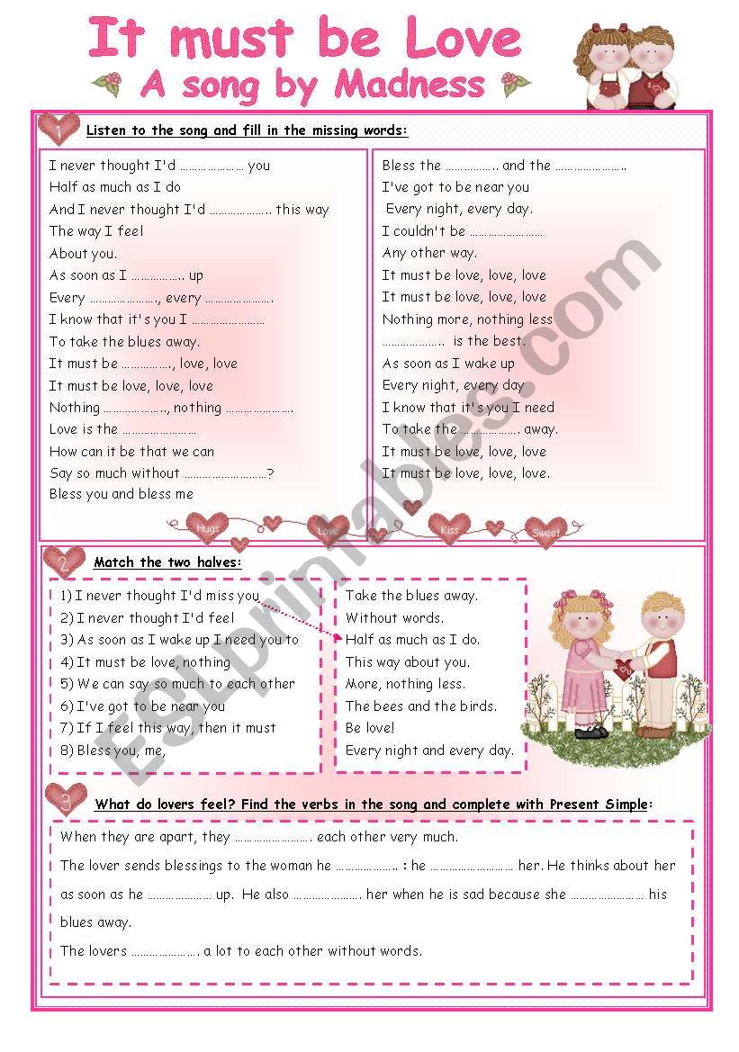 It must be love - song and activities - ESL worksheet by