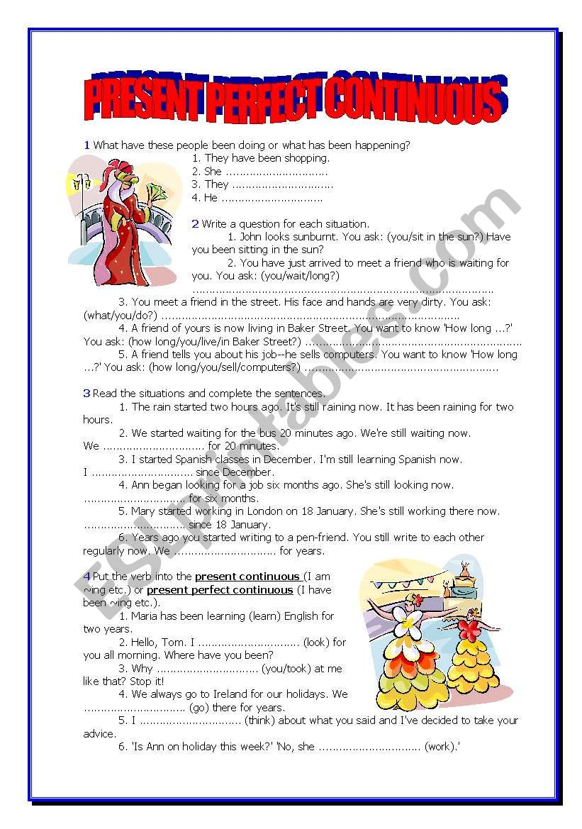PRESENT PERFECT CONTINUOUS - 5 pages