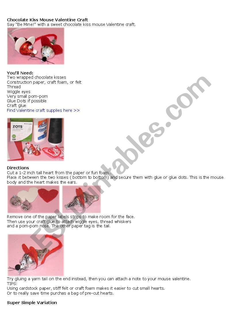 English worksheets: Valentines day craft (mouse kisses)