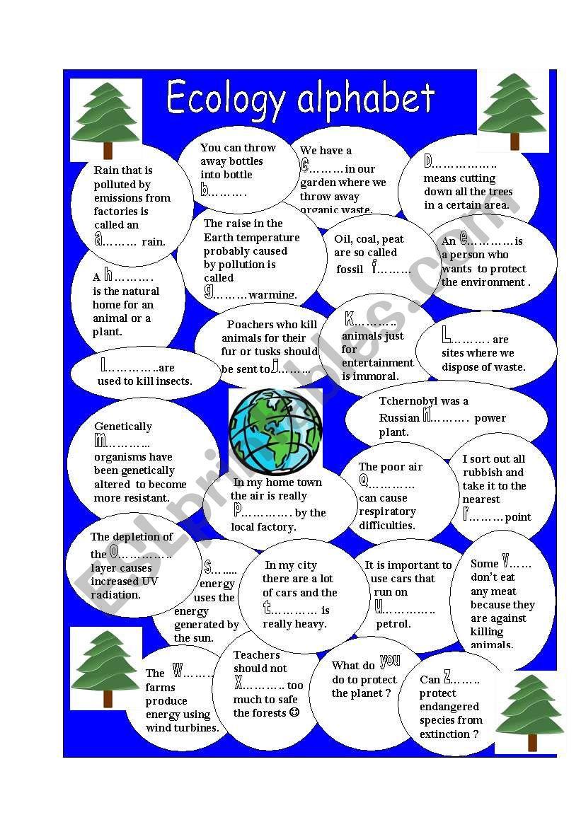 Ecology alphabet worksheet